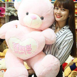 Gấu Teddy Hồng Ôm Tim Hug Me