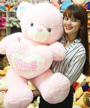 Gấu Teddy Hug Me – Gấu Ôm Tim Lông Mịn