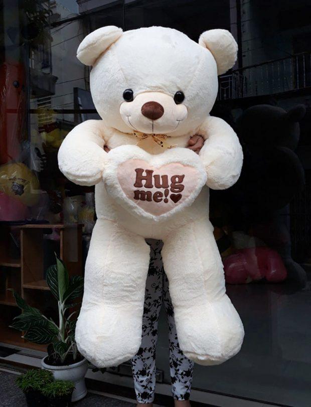 Gấu Teddy Hug me 1m2 trắng