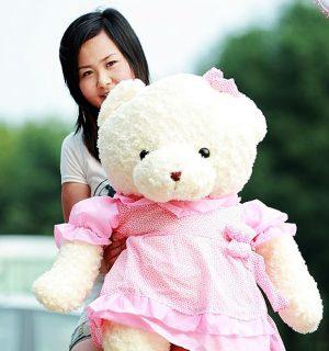 Gấu Teddy Trắng – Teddy Đầm Hồng