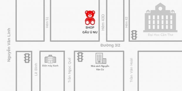 Bản đồ Shop Ú Nu - Đầu Hẻm 43D đường 3/2, Cần Thơ (gần Đại học Cần Thơ)
