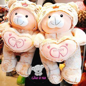 Gấu bông Cosplay Ôm Tim Happy - Trùm nón Mèo